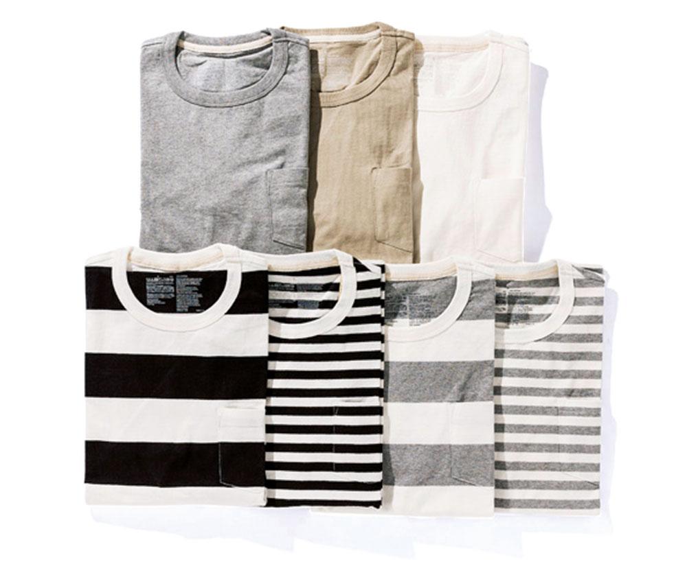 オーガニックコットンUVカットパネルボーダー七分袖Tシャツ